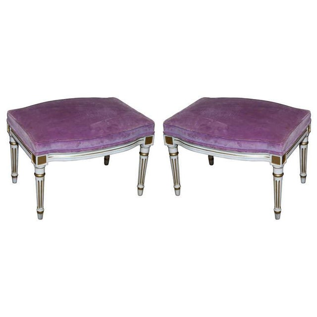 French Louis XVI Style Painted Foot Stools - Pair - Image 1 of 6