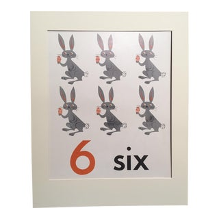 """Vintage Mid Century Teaching Poster, Numbers - """"6"""" For Sale"""