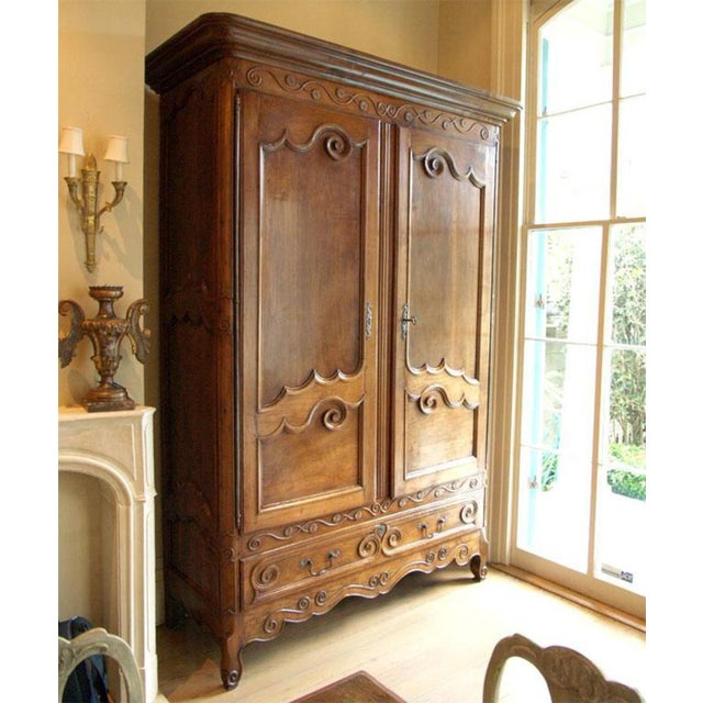 Louis XV Walnut Armoire For Sale - Image 10 of 10