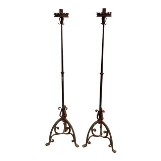 19th Century or Earlier Forged Iron Torcheres - a Pair For Sale