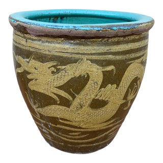 19th Century Chinese Dragon Egg Pot Earthenware Jardiniere For Sale