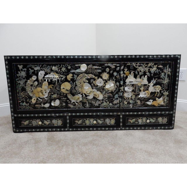 Asian Chinese Mother of Pearl Inlaid Lacquered Cabinet For Sale - Image 3 of 11