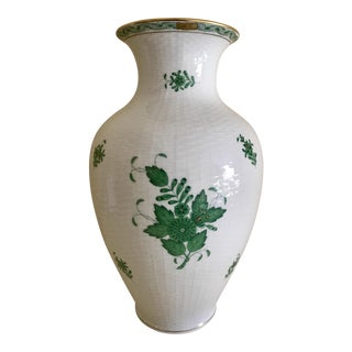Herend Porcelain Green Chinese Bouquet Vase