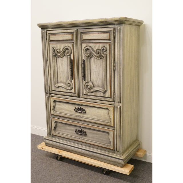 """Stanley Furniture Italian Provincial 43"""" Door Chest / Armoire W. Green Tint Finish 58"""" High 42.75"""" Wide 19.5"""" Deep We..."""