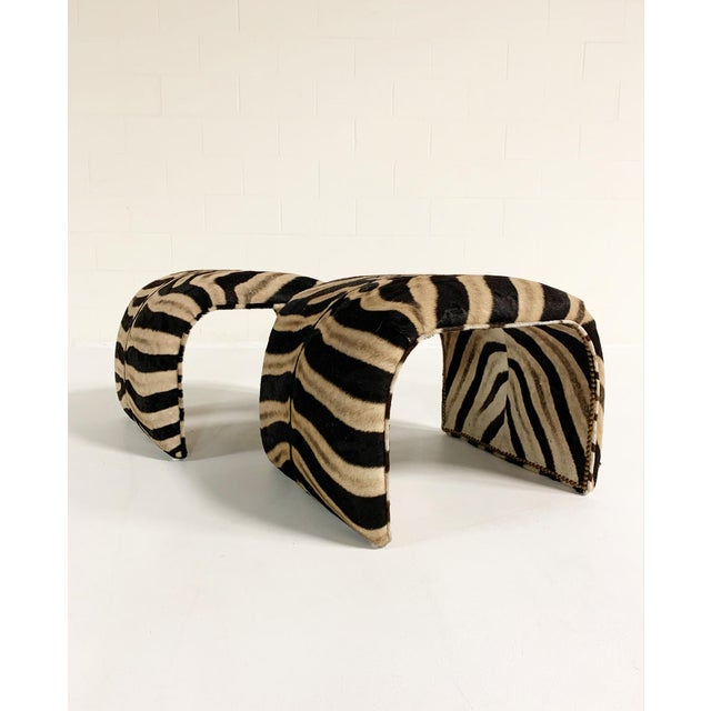 Fur Waterfall Ottomans in Zebra Hide, Pair For Sale - Image 7 of 9