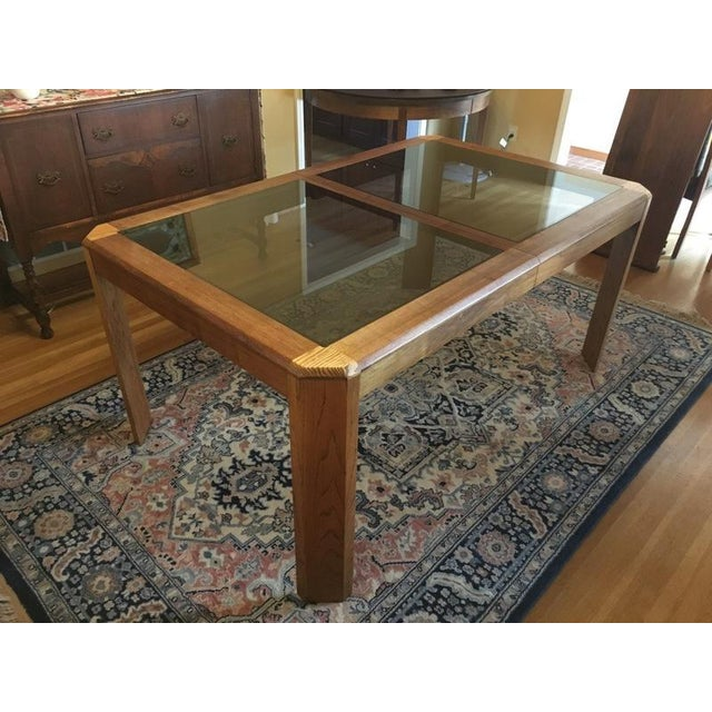 Vintage Oak Glass Top Dining Suite - Image 6 of 11