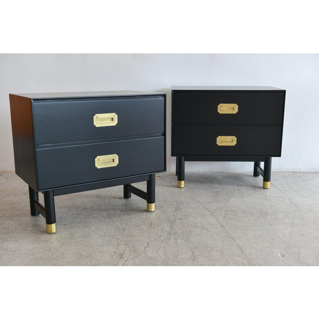 Barker Brothers & Cie 1960s Black Lacquer and Brass Campaign Nightstands - a Pair For Sale - Image 4 of 11