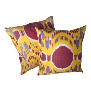 Silk Ikat Yellow & Red Pillow Covers - A Pair For Sale