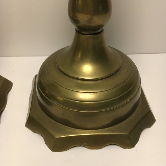 Large Floor Solid Brass Candleholders - a Pair - Image 6 of 9