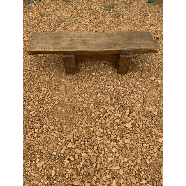 1960s Primitive Thick Wood Rectangular Coffee Table For Sale - Image 4 of 4