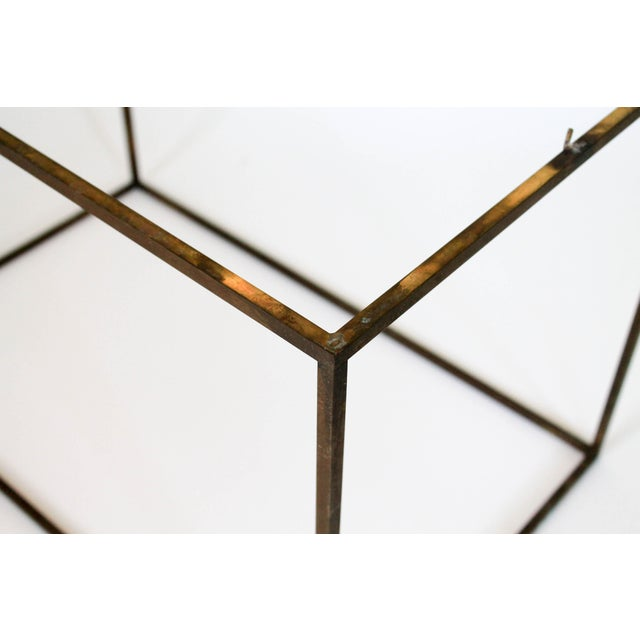 Rectangular Brass & Travertine Table For Sale - Image 10 of 11