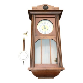 Vintage Mahogany and Brass Trimmed Grandfather Wall Clock For Sale
