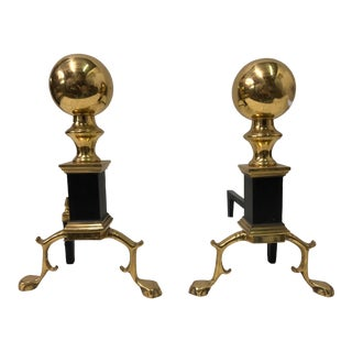 1970s Federal Style Brass Andirons - A Pair