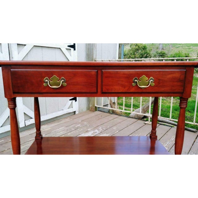 Traditional 1950s Traditional Henkel Harris Solid Wild Black Cherry Wood Drop Leaf Rolling Server Cart For Sale - Image 3 of 13
