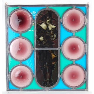 1930s Vintage Pilgrim Bible & Blunderbuss Amethyst Rondels Stained Painted Glass Preview