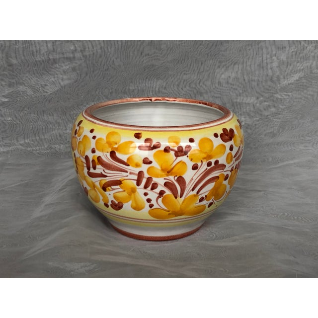 Handmade and hand painted in Italy, this vintage ceramic pottery planter is the perfect size for a small indoor house...