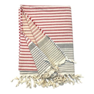 Turkish Tamam Strawberry + Taupe Terry Peştemal Handwoven Cotton Towel For Sale
