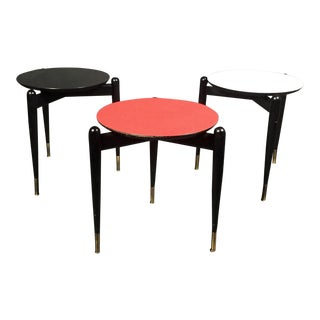 Set of Three Italian 1950s Lacquered Stacking Tables For Sale