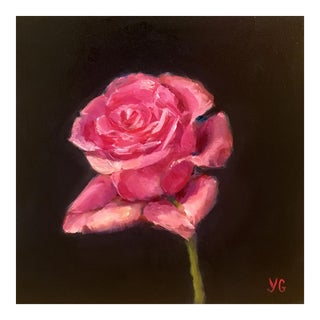 Hot Pink Rose Oil Painting For Sale
