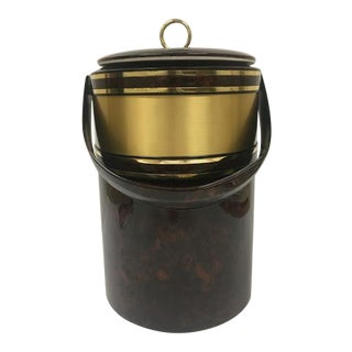 Mid-Century Tortoise Brown and Gold 3-Piece Insulated Ice Bucket W/ Tongs For Sale
