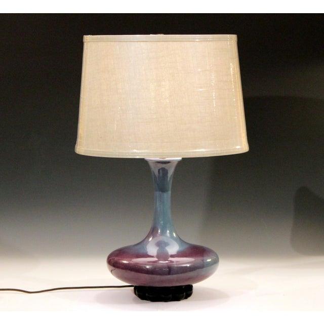 Royal Haeger Hickman Blue Flambe Glaze Art Deco Pottery Vase Lamp Vintage For Sale - Image 11 of 12