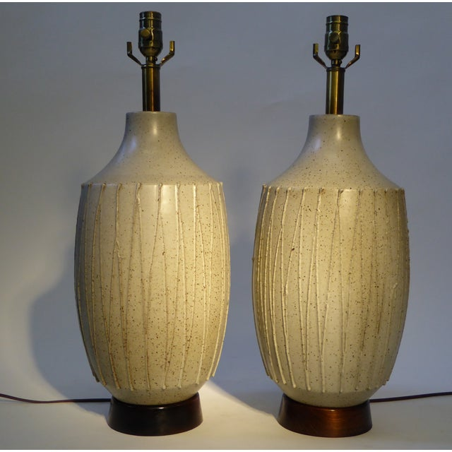 Superb superb pair of david cressey mid century modern pottery table superb pair of david cressey mid century modern pottery table lamps image 3 of 11 mozeypictures Choice Image
