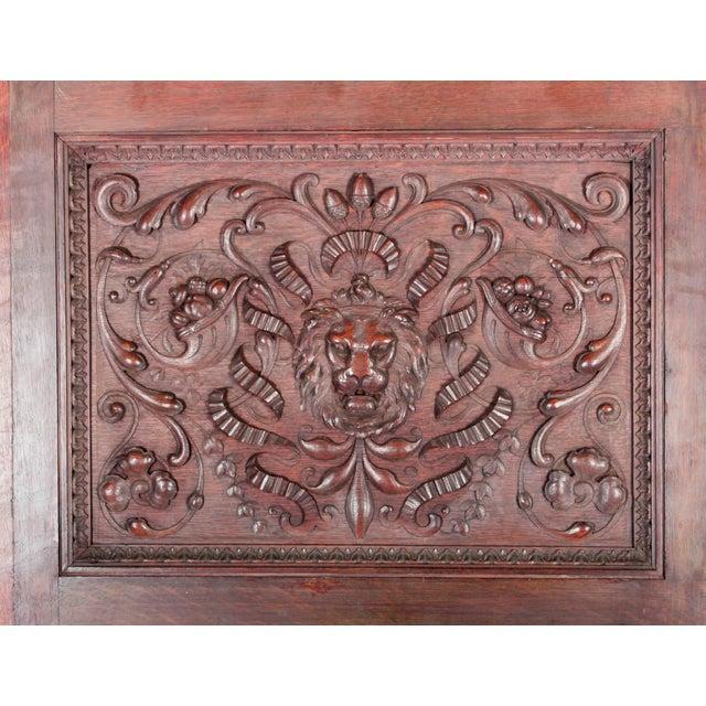C. 1880 Vanderbilt Mansion Original Hand-Carved Oak Lion Wall Panel For Sale - Image 4 of 11