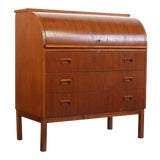Image of Mid Century Danish Modern Roll Top Secretary Teak Desk Attributed to Egon Ostergaard For Sale