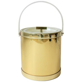 1970s Modern Lucite and Gold Disco Era Ice Bucket by Georges Briard For Sale