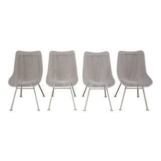 Russell Woodard 'Sculptura' White Patio Dining Chairs- Set of 4