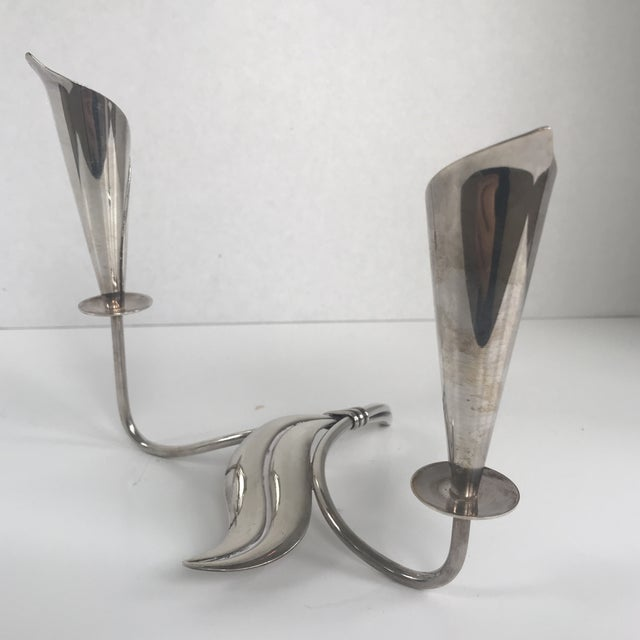 Hans Jensen Danish Silverplate Candleholder For Sale In New York - Image 6 of 6