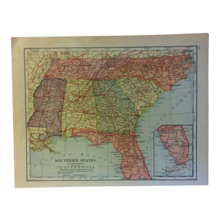 """Vintage Color Map on Paper, """"Southern States"""", Circa 1930 For Sale"""