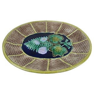 19th Century English Majolica Fern and Floral, Wicker Basket Form Cheese Board Platter Preview