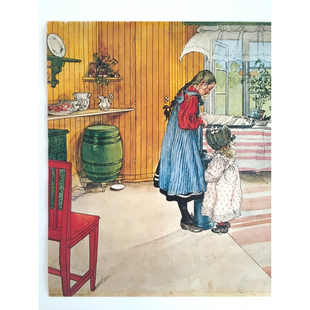 """This vintage 1972 Carl Larsson original lithograph print poster """" Koket - The Kitchen """" 1898 is a very special and unique..."""