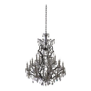 Candle-Style Crystal and Glass Chandelier For Sale