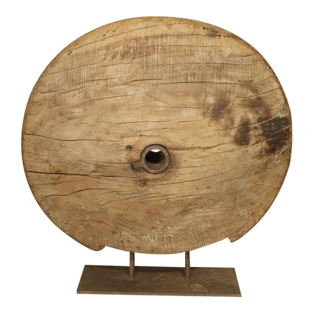 Antique Mounted Wooden Work Wheel From India For Sale
