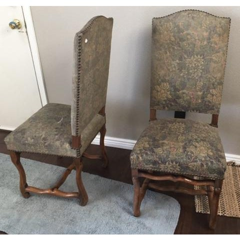 Late 19th Century Antique French Os De Mouton Pegged Oak Dining Chairs - a Pair For Sale - Image 5 of 10