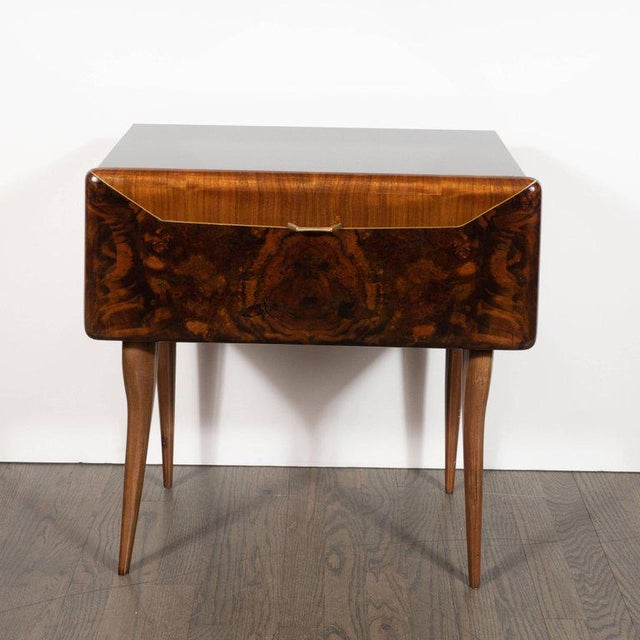 Pair of Mid-Century Italian Nightstands/End Tables in Exotic Bookmatched Wood For Sale - Image 4 of 12