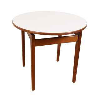 Jens Risom Mid-Century Walnut Round Tall Accent / Side Table For Sale