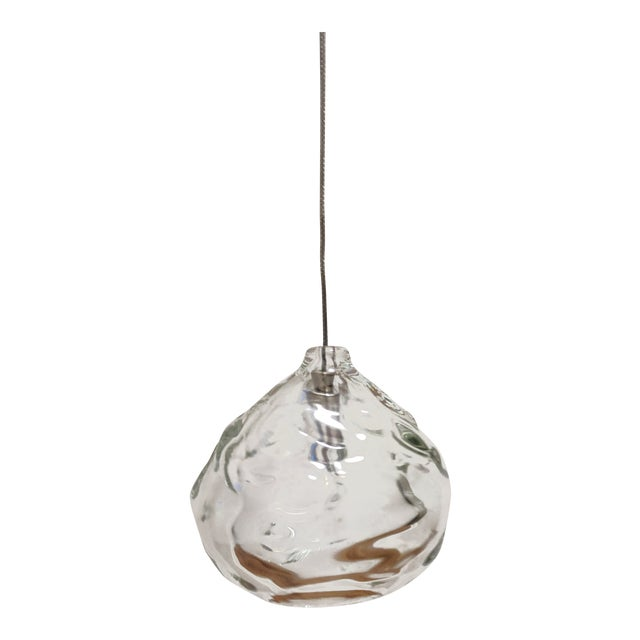Hand Blown Glass by Siemon & Salazar Clear Happy Pendant Lights For Sale
