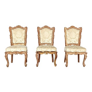 Vintage Baroque Style Carved Side Chairs - Set of 3 For Sale