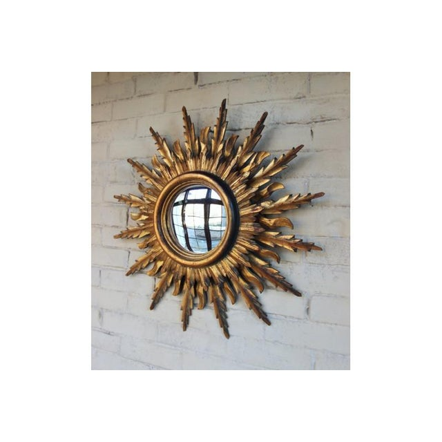 Midcentury French Double Layer Sunburst Mirror With Original Mirror Glass For Sale - Image 4 of 10