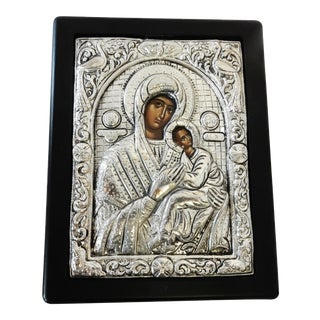 Sterling silver Greek Icon Madonna & Child