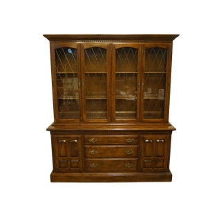 Vintage Ethan Allen Classic Manor Buffet With Display China Cabinet For Sale