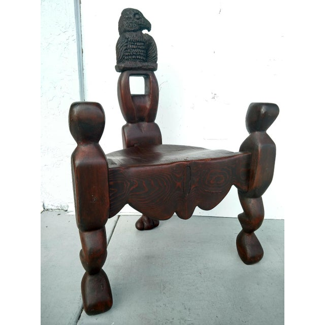 1970's Hand-Carved Artistic 3-Legged Chair, With Eagle Bust For Sale - Image 13 of 13