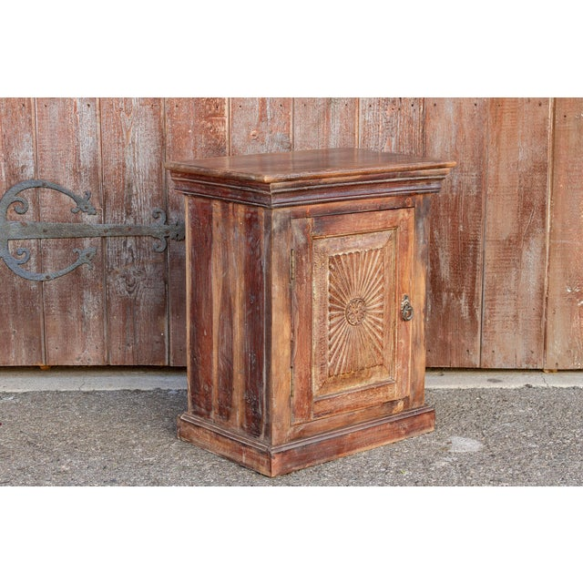 Wood Indo-Portuguese Sunburst Nightstand For Sale - Image 7 of 12