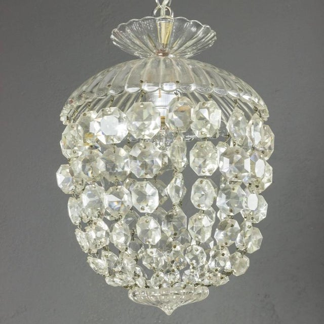 1940s French Crystal and Glass Pendant Ceiling Fixture - Image 6 of 11