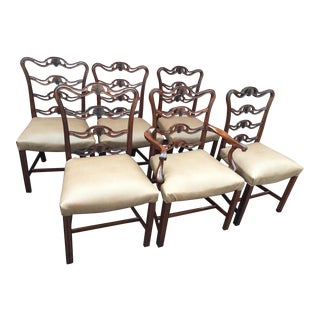 19th Century English Mahogany Chippendale Ribbon Back Shell Rosette Chairs - Set of 6 For Sale