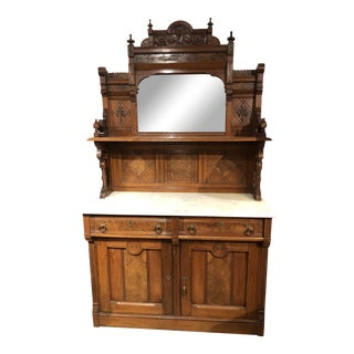 Antique Victorian Buffet With Burlwood and Marble Top For Sale