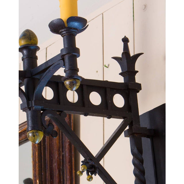 Iron Pair Monumental Iron Neo-Gothic French Sconces, circa 1910 For Sale - Image 7 of 7